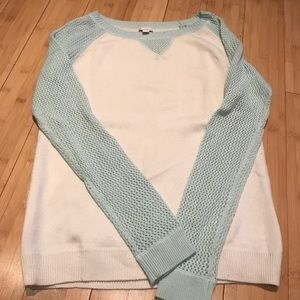 GAP sweater, ivory and turquoise
